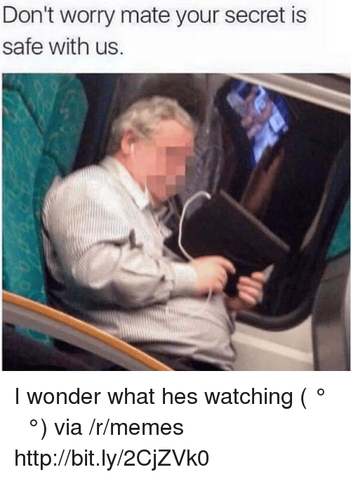 Memes, Http, and Wonder: Don't worry mate your secret is  safe with us. I wonder what hes watching ( ͡° ͜ʖ ͡°) via /r/memes http://bit.ly/2CjZVk0