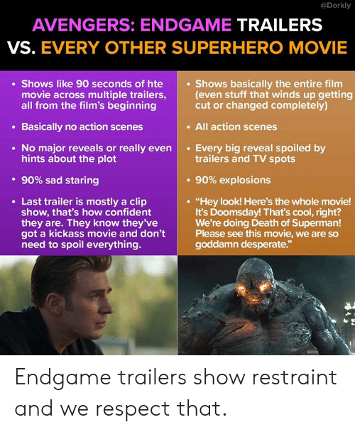 """Desperate, Memes, and Respect: @Dorkly  AVENGERS: ENDGAME TRAILERS  VS. EVERY OTHER SUPERHERO MOVIE  Shows like 90 seconds of hte  movie across multiple trailers,(even stuff that winds up getting  all from the film's beginning  Shows basically the entire film  cut or changed completely)  . All action scenes  Basically no action scenes  No major reveals or really evenEvery big reveal spoiled by  hints about the plot  trailers and TV spots  . 90% sad staring  . 90% explosions  Last trailer is mostly a clip  show, that's how confident  they are. They know they've  got a kickass movie and don't  need to spoil everything.  """"Hey look! Here's the whole movie!  It's Doomsday! That's cool, right?  We're doing Death of Superman!  Please see this movie, we are so  goddamn desperate.""""  92 Endgame trailers show restraint and we respect that."""