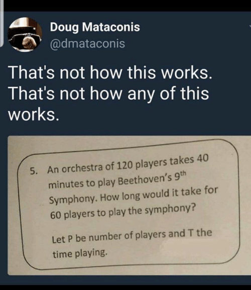 Doug, Time, and How: Doug Mataconis  @dmataconis  That's not how this works.  That's not how any of this  works.  An orchestra of 120 players takes 40  5.  minutes to play Beethoven's 9th  Symphony. How long would it take for  60 players to play the symphony?  Let P be number of players and T the  time playing.
