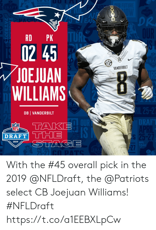 Dr. Dre, Memes, and Nfl: DR  DRE  RD PK  02 45  OEJUAN  WILLIAMS  F T  VANDERBILT  2019  DB VANDERBILT  DT  RAF  NFL  SI  2019  1g6  27  25-27 With the #45 overall pick in the 2019 @NFLDraft, the @Patriots select CB Joejuan Williams! #NFLDraft https://t.co/a1EEBXLpCw