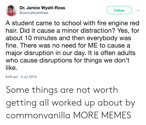 Dank, Fire, and Memes: Dr. Janice Wyatt-Ross  Follow  @JaniceWyattRoss  A student came to school with fire engine red  hair. Did it cause a minor distraction? Yes, for  about 10 minutes and then everybody was  fine. There was no need for ME to cause a  major disruption in our day. It is often adults  who cause disruptions for things we don't  like.  6:00 am 5 Jul 2019 Some things are not worth getting all worked up about by commonvanilla MORE MEMES