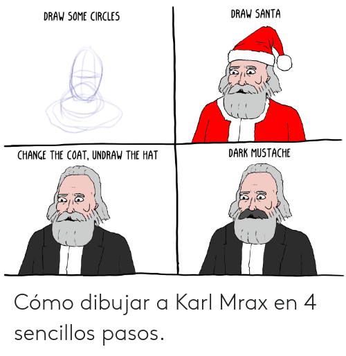 Karl: DRAW SANTA  DRAW SOME CIRCLES  DARK MUSTACHE  CHANGE THE COAT, UNDRAW THE HAT Cómo dibujar a Karl Mrax en 4 sencillos pasos.