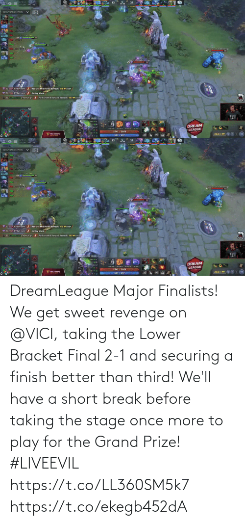 for: DreamLeague Major Finalists!  We get sweet revenge on @VICI, taking the Lower Bracket Final 2-1 and securing a finish better than third!   We'll have a short break before taking the stage once more to play for the Grand Prize! #LIVEEVIL  https://t.co/LL360SM5k7 https://t.co/ekegb452dA