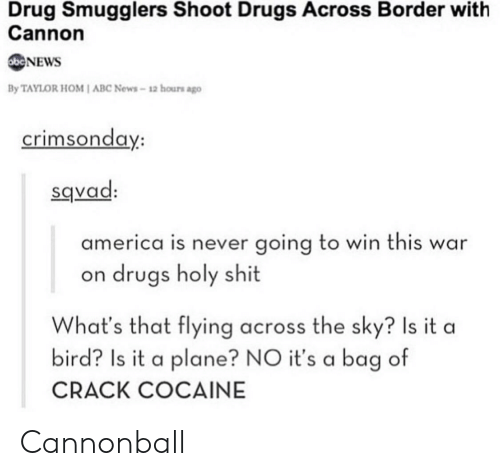 war on drugs: Drug Smugglers Shoot Drugs Across Border with  Cannon  NEWS  By TAYLOR HOM I ABC News-12 hours ago  crimsonda  y:  sqvad  america is never going to win this war  on drugs holy shit  What's that flying across the sky? Is it a  bird? Is it a plane? NO it's a bag of  CRACK COCAINE Cannonball