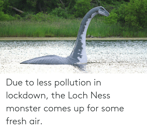 air: Due to less pollution in lockdown, the Loch Ness monster comes up for some fresh air.