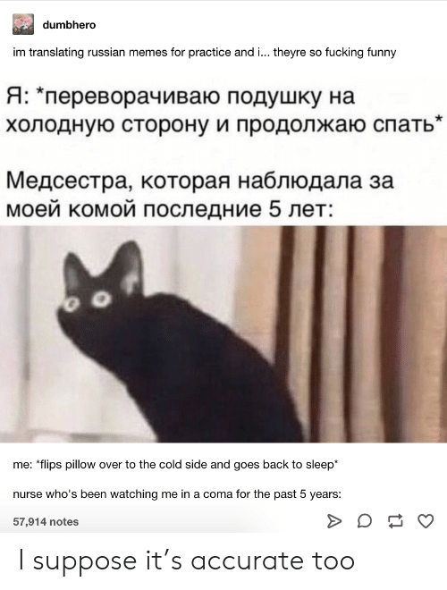 """Fucking, Funny, and Memes: dumbhero  im translating russian memes for practice and ... theyre so fucking funny  Я: """"переворачиваю подушку на  холодную сторону и продолжаю спать""""  Медсестра, которая наблюдала за  моей комой последние 5 лет:  me: *flips pillow over to the cold side and goes back to sleep*  nurse who's been watching me in a coma for the past 5 years:  57,914 notes I suppose it's accurate too"""