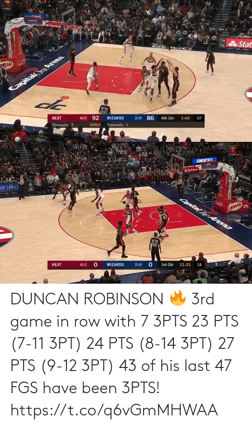 Game: DUNCAN ROBINSON 🔥 3rd game in row with 7 3PTS  23 PTS (7-11 3PT) 24 PTS (8-14 3PT) 27 PTS (9-12 3PT)   43 of his last 47 FGS have been 3PTS!   https://t.co/q6vGmMHWAA