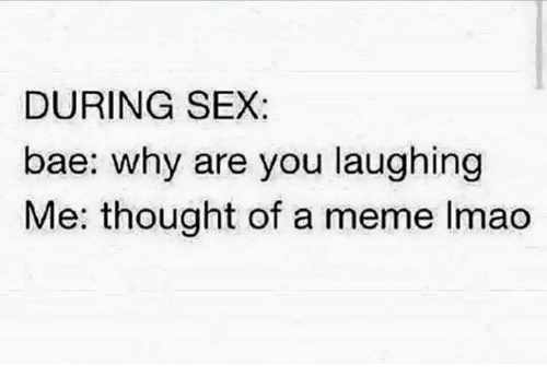 why are you laughing: DURING SEX:  bae: why are you laughing  Me: thought of a meme Imao