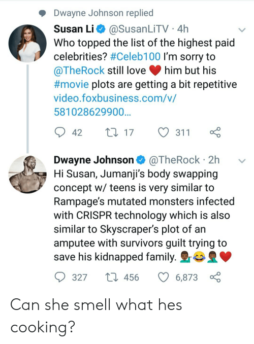 Topped: Dwayne Johnson replied  Susan Li @SusanLiTV 4h  Who topped the list of the highest paid  celebrities? #Celebi 00 I'm sorry to  @TheRock still love him but his  #movie plots are getting a bit repetitive  video.foxbusiness.com/v/  581028629900  42 t017 311  Dwayne Johnson @TheRock 2h v  Hi Susan, Jumanji's body swapping  concept w/ teens is very similar to  Rampage's mutated monsters infectec  with CRISPR technology which is also  similar to Skyscraper's plot of an  amputee with survivors guilt trying to  save his kidnapped family. r  327  456  6873 Can she smell what hes cooking?