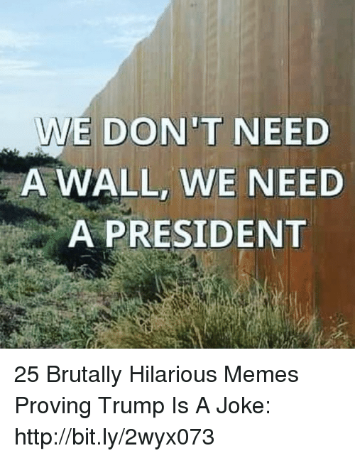 Trump Is A: E DON'T NEED  A WALL, WE NEED  A PRESIDENT 25 Brutally Hilarious Memes Proving Trump Is A Joke: http://bit.ly/2wyx073
