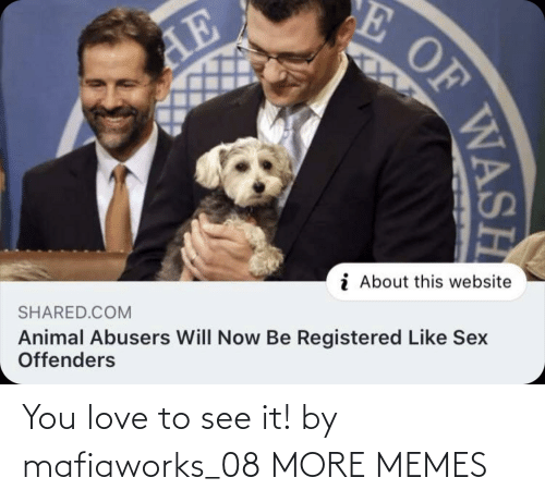 website: E OF  AE  i About this website  SHARED.COM  Animal Abusers Will Now Be Registered Like Sex  Offenders  WASH You love to see it! by mafiaworks_08 MORE MEMES