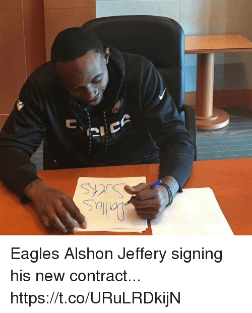 Philadelphia Eagles, Alshon Jeffery, and New: Eagles Alshon Jeffery signing his new contract... https://t.co/URuLRDkijN