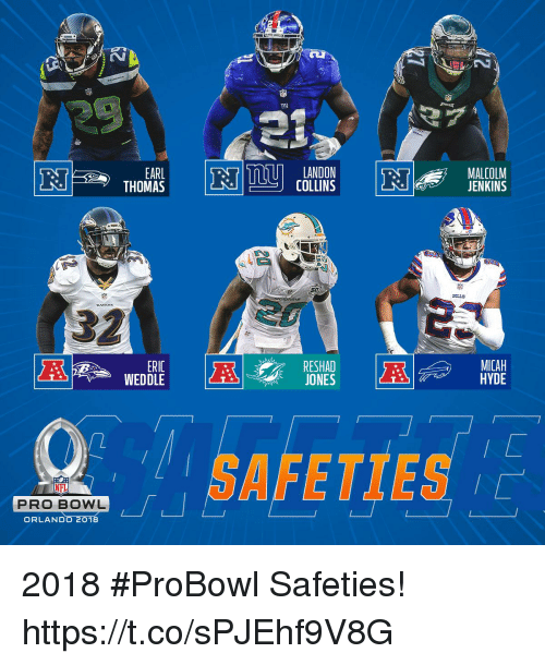 Memes, Nfl, and NFL Pro Bowl: EARL  THOMAS  LANDON  COLLINS  MALCOLM  JENKINS  SILLS  32  MICAH  HYDE  ERIC  RESHAD  JONES  AFETTES 는  NFL  PRO BOWL  ORLAND 2018 #ProBowl Safeties! https://t.co/sPJEhf9V8G