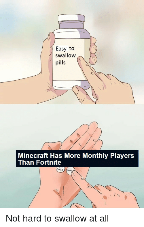 Monthly: Easy to  swallow  pills  Minecraft Has More Monthly Players  Than Fortnite  543 Not hard to swallow at all