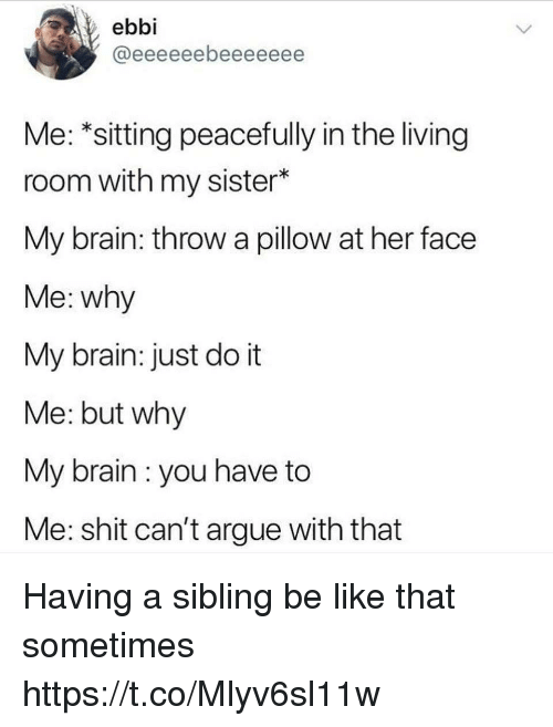Arguing, Be Like, and Funny: ebbi  Me: *sitting peacefully in the living  room with my sister*  My brain: throw a pillow at her face  Me: why  My brain: just do it  Me: but why  My brain : you have to  Me: shit can't argue with that Having a sibling be like that sometimes https://t.co/Mlyv6sl11w