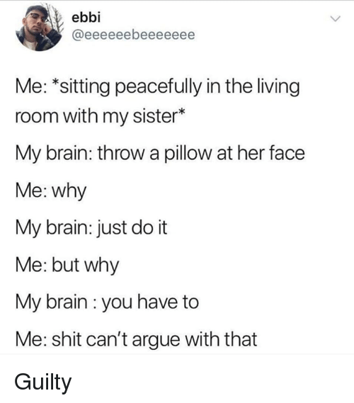 Arguing, Just Do It, and Memes: ebbi  Me: *sitting peacefully in the living  room with my sister*  My brain: throw a pillow at her face  Me: why  My brain: just do it  Me: but why  My brain : you have to  Me: shit can't argue with that Guilty