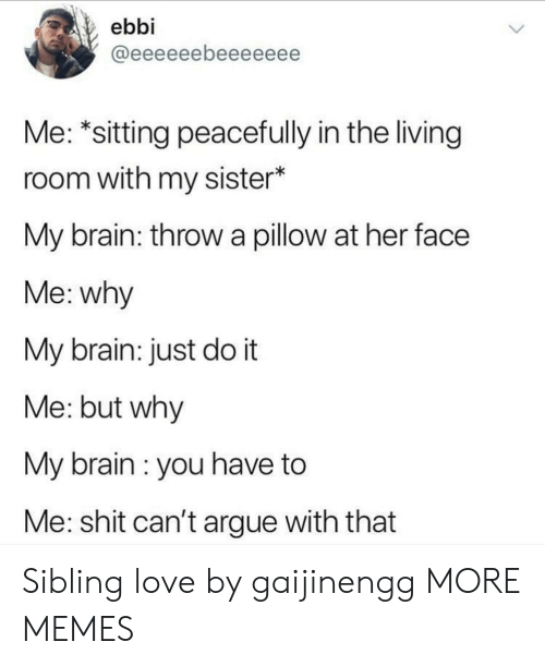 Arguing, Dank, and Just Do It: ebbi  Me: *sitting peacefully in the living  room with my sister*  My brain: throw a pillow at her face  Me: why  My brain: just do it  Me: but why  My brain : you have to  Me: shit can't argue with that Sibling love by gaijinengg MORE MEMES