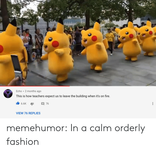 Fashion, Fire, and Tumblr: Echo 2 months ago  This is how teachers expect us to leave the building when it's on fire.  6.6K  76  VIEW 76 REPLIES memehumor:  In a calm orderly fashion