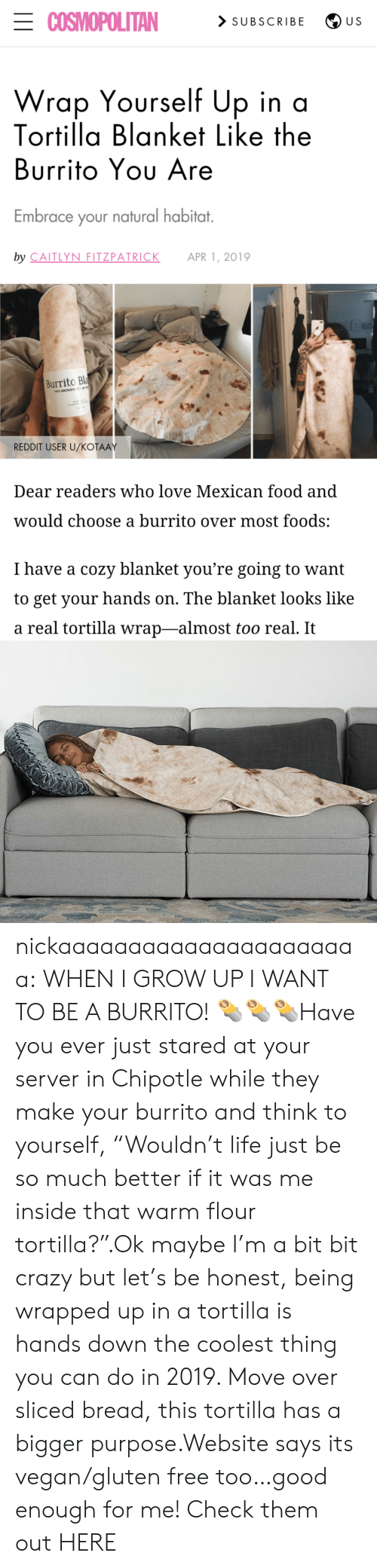 """apr: ECOSMOPOLITAN  > SUBSCRIBE  U S  Wrap Yourself Up in a  Tortilla Blanket Like the  Burrito Yου Are  Embrace your natural habitat.  by CAITLYN FITZPATRICK  APR 1, 2019  Burrito Bla  100% MICROFE  REDDIT USER U/KOŤAAY  Dear readers who love Mexican food and  would choose a burrito over most foods:  I have a cozy blanket you're going to want  to get your hands on. The blanket looks like  a real tortilla wrap-almost too real. It nickaaaaaaaaaaaaaaaaaaaaaa:  WHEN I GROW UP I WANT TO BE A BURRITO! 🌯🌯🌯Have you ever just stared at your server in Chipotle while they make your burrito and think to yourself, """"Wouldn't life just be so much better if it was me inside that warm flour tortilla?"""".Ok maybe I'm a bit bit crazy but let's be honest, being wrapped up in a tortilla is hands down the coolest thing you can do in 2019. Move over sliced bread, this tortilla has a bigger purpose.Website says its vegan/gluten free too…good enough for me! Check them out HERE"""