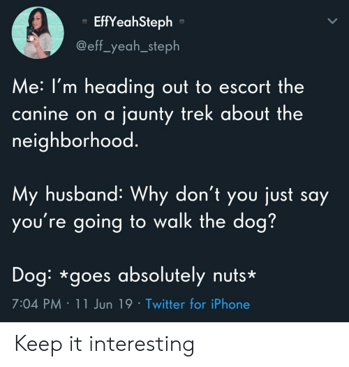 Iphone, Twitter, and Yeah: EffYeahSteph  @eff_yeah_steph  Me:I'm heading out to escort the  jaunty trek about the  canine on a  neighborhood.  My husband: Why don't you just say  you're going to walk the dog?  Dog: *goes absolutely nuts*  7:04 PM 11 Jun 19 Twitter for iPhone Keep it interesting