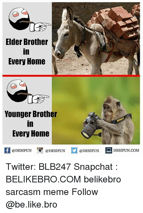 Snapchated: Elder Brother  in  Every Home  Younger Brother  in  Every Home  困@DESIFUN 증@DESIFUN @DESIFUN DESIFUN.COM Twitter: BLB247 Snapchat : BELIKEBRO.COM belikebro sarcasm meme Follow @be.like.bro