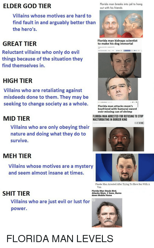 Burger King, Florida Man, and Friends: ELDER GOD TIER  Florida man breaks into jail to hang  out with his friends  Villains whose motives are hard to  find fault in and arguably better than  the hero's.  Florida man kidnaps scientist  to make his dog immortal  GREAT TIER  Reluctant villains who only do evil  things because of the situation they  find themselves in.  EST  HIGH TIER  Villains who are retaliating against  misdeeds done to them. They may be  seeking to change society as a whole.  Florida man attacks mom's  boyfriend with Samurai sword  over missing can of shrimp  MID TIER  FLORIDA MAN ARRESTED FOR REFUSING TO STOP  MASTURBATING IN BURGER KING  Villains who are only obeying their  nature and doing what they do to  survive  MEH TIER  Villains whose motives are a mystery  and seem almost insane at times  Florida Man Arrested After Trying To Have Sex With A  Van  SHIT TIER  Florida Man Steals Bird  Attacks Mom, 2 Sons, Burns  down Mobile Home  Villains who are just evil or lust for  power. FLORIDA MAN LEVELS