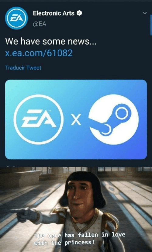 Love, News, and Electronic Arts: Electronic Arts  EA  @EA  We have some news...  X.ea.com/61082  Traducir Tweet  EA X  The ogre has fallen in love  with the princess !