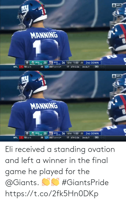 And: Eli received a standing ovation and left a winner in the final game he played for the @Giants. 👏👏 #GiantsPride https://t.co/2fk5Hn0DKp