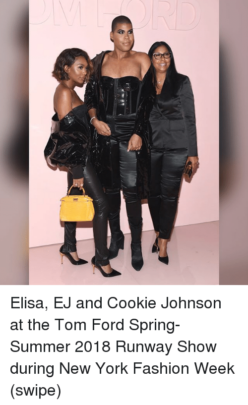 Fords: Elisa, EJ and Cookie Johnson at the Tom Ford Spring-Summer 2018 Runway Show during New York Fashion Week (swipe)