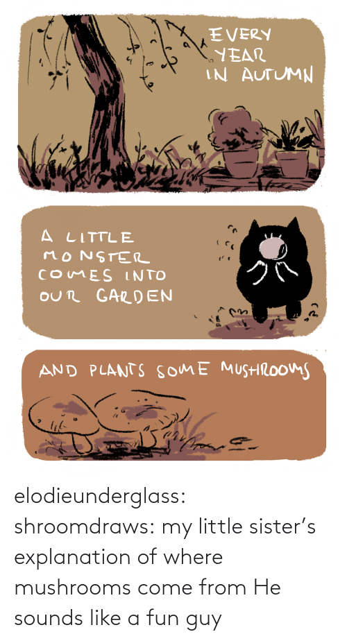 Little: elodieunderglass: shroomdraws: my little sister's explanation of where mushrooms come from  He sounds like a fun guy