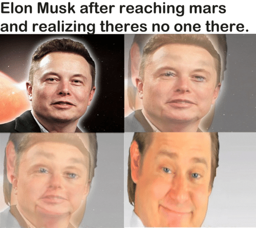 Reaching: Elon Musk after reaching mars  and realizing theres no one there.