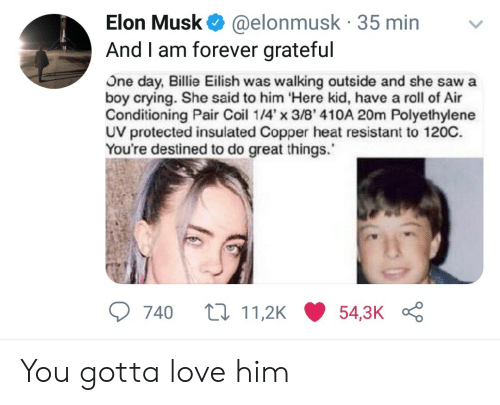 air conditioning: Elon Musk @elonmusk 35 min  And I am forever grateful  US  One day, Billie Eilish was walking outside and she sawa  boy crying. She said to him Here kid, have a roll of Air  Conditioning Pair Coil 14x 3/8' 410A 20m Polyethylene  UV protected insulated Copper heat resistant to 120C.  You're destined to do great things.  740 t11,2K54,3K You gotta love him