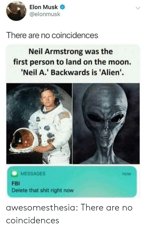 FBI: Elon Musk  @elonmusk  There are no coincidences  Neil Armstrong was the  first person to land on the moon.  'Neil A.' Backwards is 'Alien'  MESSAGES  now  FBI  Delete that shit right now awesomesthesia:  There are no coincidences