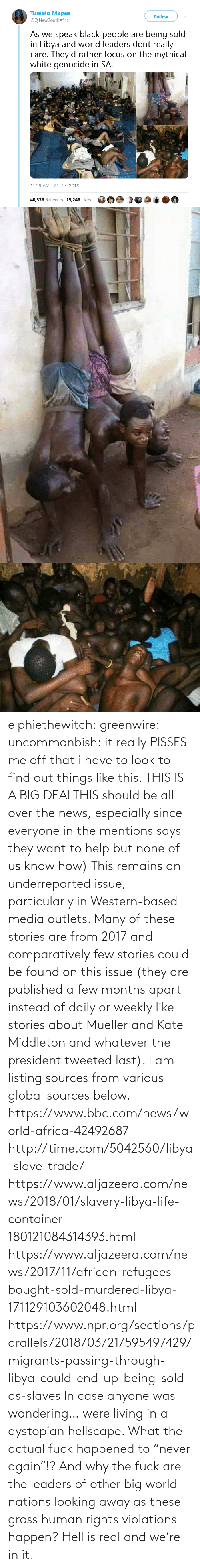 "Us: elphiethewitch: greenwire:  uncommonbish:  it really PISSES me off that i have to look to find out things like this. THIS IS A BIG DEALTHIS should be all over the news, especially since everyone in the mentions says they want to help but none of us know how)  This remains an underreported issue, particularly in Western-based media outlets. Many of these stories are from 2017 and comparatively few stories could be found on this issue (they are published a few months apart instead of daily or weekly like stories about Mueller and Kate Middleton and whatever the president tweeted last). I am listing sources from various global sources below.  https://www.bbc.com/news/world-africa-42492687 http://time.com/5042560/libya-slave-trade/ https://www.aljazeera.com/news/2018/01/slavery-libya-life-container-180121084314393.html https://www.aljazeera.com/news/2017/11/african-refugees-bought-sold-murdered-libya-171129103602048.html https://www.npr.org/sections/parallels/2018/03/21/595497429/migrants-passing-through-libya-could-end-up-being-sold-as-slaves   In case anyone was wondering… were living in a dystopian hellscape.  What the actual fuck happened to ""never again""!? And why the fuck are the leaders of other big world nations looking away as these gross human rights violations happen?  Hell is real and we're in it."