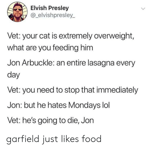Food, Lol, and Mondays: Elvish Presley  @elvishpresley_  Vet: your cat is extremely overweight,  what are you feeding him  Jon Arbuckle: an entire lasagna every  day  Vet: you need to stop that immediately  Jon: but he hates Mondays lol  Vet: he's going to die, Jon garfield just likes food