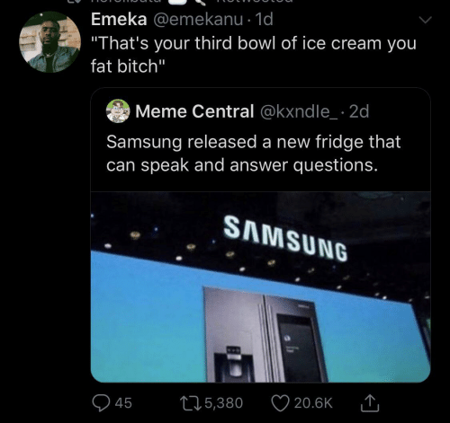 """Samsung: Emeka @emekanu · 1d  """"That's your third bowl of ice cream you  fat bitch""""  Meme Central @kxndle_ · 2d  Samsung released a new fridge that  can speak and answer questions.  SAMSUNG  20.6K  275,380  45"""