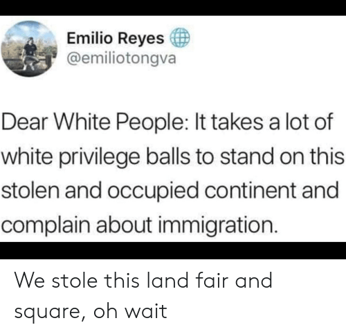 Immigration: Emilio Reyes  @emiliotongva  Dear White People: It takes a lot of  white privilege balls to stand on this  stolen and occupied continent and  complain about immigration. We stole this land fair and square, oh wait