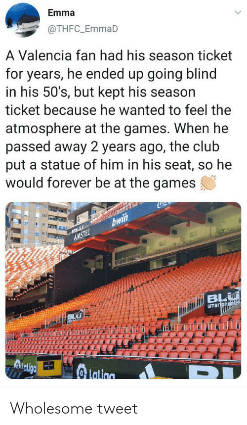 The Games: Emma  @THFC_EmmaD  A Valencia fan had his season ticket  for years, he ended up going blind  in his 50's, but kept his season  ticket because he wanted to feel the  atmosphere at the games. When he  passed away 2 years ago, the club  put a statue of him in his seat, so he  would forever be at the games  bwin  AMSTEL  BL  smartpnamal  Lalion Wholesome tweet