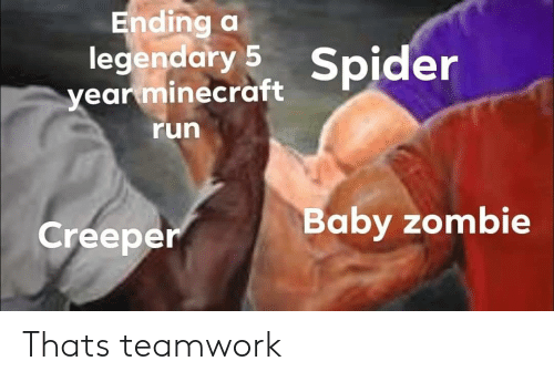 Minecraft, Run, and Spider: Ending a  legendary 5 Spider  year minecraft  run  aby zombie  Creeper Thats teamwork