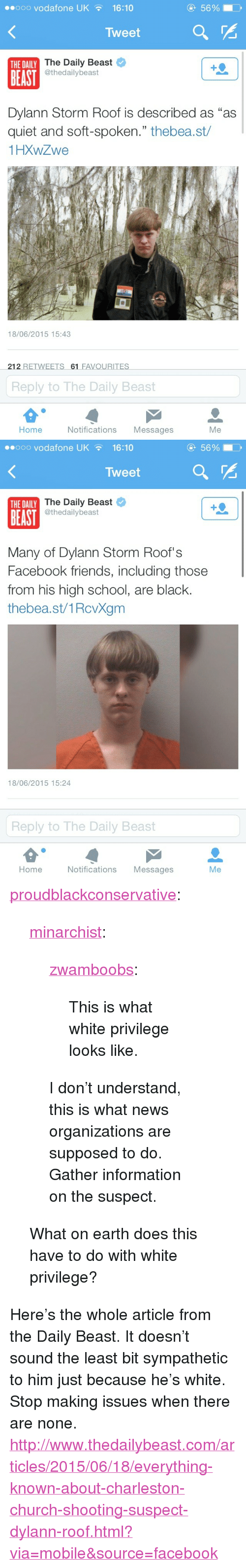 """Church, Facebook, and Friends: eooo vodafone UK16:10  5690  Tweet  The Daily Beast  @thedailybeast  THE DAILY  BEAST  Dylann Storm Roof is described as """"as  quiet and soft-spoken."""" thebea.st/  1HXWZwe  18/06/2015 15:43  212 RETWEETS 61 FAVOURITES  Reply to The Daily Beast  Home  Notifications Messages  Me   ..ooo vodafone UK  16:10  5690  Tweet  The Daily Beast  @thedailybeast  THE DAILY  BEAST  Many of Dylann Storm Roof's  Facebook friends, including those  from his high school, are black.  thebea.st/1RcvXgm  18/06/2015 15:24  Reply to The Daily Beast  Home  Notifications Messages  Me <p><a class=""""tumblr_blog"""" href=""""http://proudblackconservative.tumblr.com/post/121848653839/minarchist-zwamboobs-this-is-what-white"""">proudblackconservative</a>:</p>  <blockquote><p><a class=""""tumblr_blog"""" href=""""http://minarchist.tumblr.com/post/121847656894/zwamboobs-this-is-what-white-privilege-looks"""">minarchist</a>:</p>  <blockquote><p><a class=""""tumblr_blog"""" href=""""http://zwamboobs.tumblr.com/post/121841004836/this-is-what-white-privilege-looks-like"""">zwamboobs</a>:</p>  <blockquote><p>This is what white privilege looks like.</p></blockquote>  <p>I don't understand, this is what news organizations are supposed to do. Gather information on the suspect.</p></blockquote>  <p>What on earth does this have to do with white privilege?<br/></p></blockquote>  <p>Here's the whole article from the Daily Beast. It doesn't sound the least bit sympathetic to him just because he's white. Stop making issues when there are none. <a href=""""http://www.thedailybeast.com/articles/2015/06/18/everything-known-about-charleston-church-shooting-suspect-dylann-roof.html?via=mobile&source=facebook"""">http://www.thedailybeast.com/articles/2015/06/18/everything-known-about-charleston-church-shooting-suspect-dylann-roof.html?via=mobile&source=facebook</a><br/></p>"""