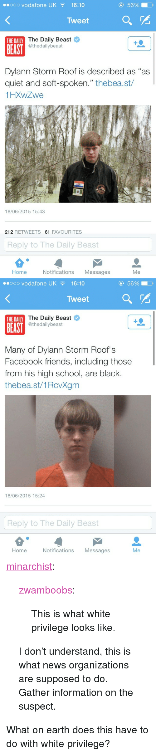 """Facebook, Friends, and News: eooo vodafone UK16:10  5690  Tweet  The Daily Beast  @thedailybeast  THE DAILY  BEAST  Dylann Storm Roof is described as """"as  quiet and soft-spoken."""" thebea.st/  1HXWZwe  18/06/2015 15:43  212 RETWEETS 61 FAVOURITES  Reply to The Daily Beast  Home  Notifications Messages  Me   ..ooo vodafone UK  16:10  5690  Tweet  The Daily Beast  @thedailybeast  THE DAILY  BEAST  Many of Dylann Storm Roof's  Facebook friends, including those  from his high school, are black.  thebea.st/1RcvXgm  18/06/2015 15:24  Reply to The Daily Beast  Home  Notifications Messages  Me <p><a class=""""tumblr_blog"""" href=""""http://minarchist.tumblr.com/post/121847656894/zwamboobs-this-is-what-white-privilege-looks"""">minarchist</a>:</p>  <blockquote><p><a class=""""tumblr_blog"""" href=""""http://zwamboobs.tumblr.com/post/121841004836/this-is-what-white-privilege-looks-like"""">zwamboobs</a>:</p>  <blockquote><p>This is what white privilege looks like.</p></blockquote>  <p>I don't understand, this is what news organizations are supposed to do. Gather information on the suspect.</p></blockquote>  <p>What on earth does this have to do with white privilege?<br/></p>"""
