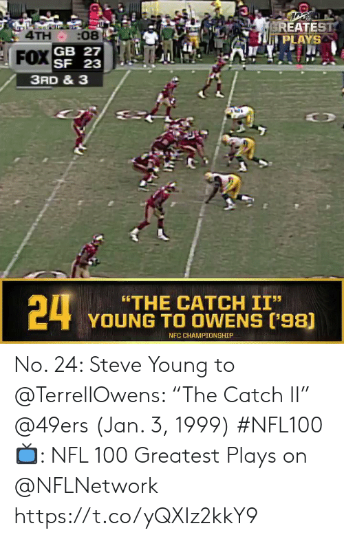 "San Francisco 49ers, Memes, and Nfl: EREATEST  PLAYS  4TH :08  SF 23  3RD & 3  24  ""THE CATCH II""  YOUNG TO OWENS ('98)  NFC CHAMPIONSHIP No. 24: Steve Young to @TerrellOwens: ""The Catch II"" @49ers (Jan. 3, 1999) #NFL100  📺: NFL 100 Greatest Plays on @NFLNetwork https://t.co/yQXIz2kkY9"