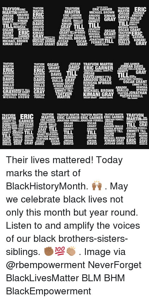 Blm: ERIC GARNER MA  TRAYVONERRAYVON  MARTINNERMARTIN  JORDAN AMADOUERIC  TRAYVON  MARTIN MICHAEL BROWN N GARNER  ERIC GARNER AMADOU KIMANL DAVIS  JORDAN AMADOu  nIALLO  D GARNER  EMMETTKIMANI JORDAN  AMADOU  OSCAR MCBRIDE DIALLO  IMAN  JORDANAMADOU DU  DAVIS DIALLO EMM  KIMANI EMMET  AVIS DIALLO  GRAY  EMMETTA  TILL  ILL  RENISHA  MICHAEL BROWN  JONATHAN  ONATHAN FERRLLMIHA GRANTRAYVONERIC  MICHAEL BROWN JONATHAN  GRANTLLM BRIDE FERRELL OSCAR OSCAR GRANT  RN  ARTIN ORDRO ANs  3閻罛ERO  KIMANI  RAY  MICHAEL BROWN MC  JORDAN  OSCAR FERRELL LOLL  DIA  KIMANI GRAY  DAVIS GRANT  TRAYVON OSCAR  JORDAN TRAYVON MARTIN  MARTIN  RIC  JORDAN  JONATHAN FERRELL EXEMETT  EMM  GRAY  ARNE  JORDAN  DAVIS  AMADOU  ORDANAMADOu  KIMAN  VIS  It  JONATHAN FERRELL  ENISHA M BRIDE  AMADOU  RENISHA OSCAR  M'BRIDE GRAN  JONATHAN FERREL  EMMETT TILL  EMMETT TIu  KIMANI  RA  EL BROWN  MCBRIDE  ATHAN FERRELL JONAT  WN FERRELL  OSCAR GRANT JORDAN DAS  TRAYVON TRAYVON MARTIN TRAYVON MARTIN TRAYVON MARTIN TRAVO  ERI(C MARTIN ERIC GARNER ERIC GARNER ERIC GARNER  LGARNER DOSCAR  RIARRJONATHAN FERRELJONATHAN FERRELL  EMMEIT ILL  OSCAR DAVIS DIALLO  TILL GRA  GRANT AMADOU DIALLO  EMMETT RENISHA M BRIDE JONATHAN FERRELL  EMMETT TILL  EMMETT TILL  EMMETT JONATHAN  OSCARRENISH  JONATHAN FERRELL  MICHAEL BROW  KIMANI GRAY  JORDAN DAMS  BBOWN  TRAYVON MARTIN  IMANIJORDAN OSCAR  GRAY DAVIS GRANT Their lives mattered! Today marks the start of BlackHistoryMonth. 🙌🏾 . May we celebrate black lives not only this month but year round. Listen to and amplify the voices of our black brothers-sisters-siblings. ✊🏾💯👏🏽 . Image via @rbempowerment NeverForget BlackLivesMatter BLM BHM BlackEmpowerment
