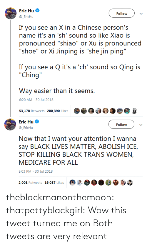 """30 Jul: Eric Hu  @EricHu  Follow  If you see an X in a Chinese person's  name it's an 'sh' sound so like Xiao is  pronounced """"shiao"""" or Xu is pronounced  """"shoe"""" or Xi Jinping is """"she jin ping""""  If you see a Q it's a 'ch' sound so Qing is  """"Ching  Way easier than it seems.  53,178 Retweets 200,390 Likes  6:20 AM-30 Jul 2018   Eric Hu  @EricHu  Follow  Now that I want your attention I wanna  say BLACK LIVES MATTER, ABOLISH ICE,  STOP KILLING BLACK TRANS WOMEN,  MEDICARE FOR ALL  9:03 PM-30 Jul 2018  2,001 Retweets 16,087 Likes @  OO. De.so theblackmanonthemoon:  thatpettyblackgirl: Wow this tweet turned me on  Both tweets are very relevant"""