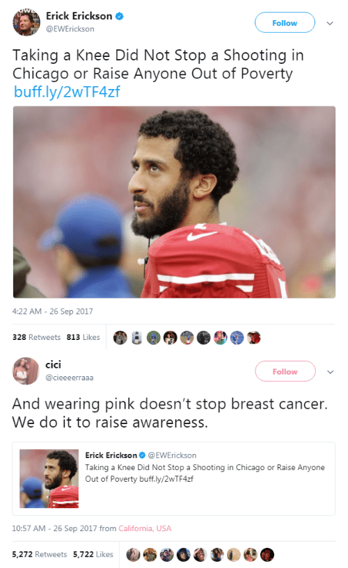 Breast Cancer: Erick Erickson  EWErickson  Follow  Taking a Knee Did Not Stop a Shooting in  Chicago or Raise Anyone Out of Poverty  buff.ly/2WTF4zf  4:22 AM-26 Sep 2017  328 Retweets 813 Likes   cici  CICI  Follow  @cieeeerraaa  And wearing pink doesn't stop breast cancer.  We do it to raise awareness.  Erick Erickson@EWErickson  Taking a Knee Did Not Stop a Shooting in Chicago or Raise Anyone  Out of Poverty buff.ly/2wTF4zf  10:57 AM- 26 Sep 2017 from California, USA  5,272 Retweets 5,722 Likes