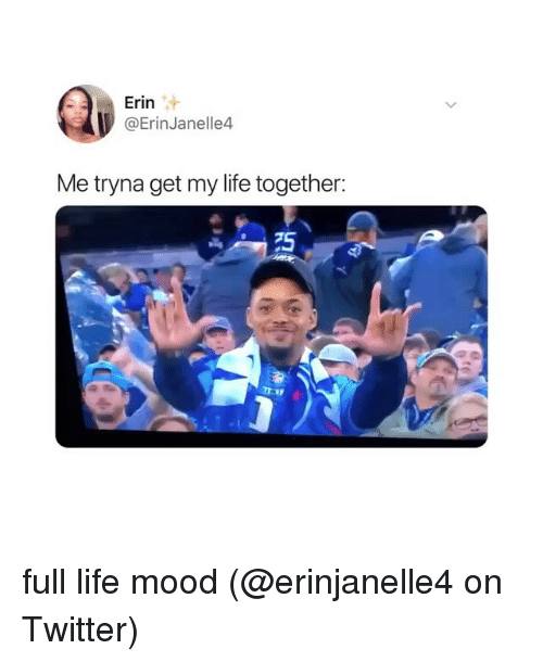Life, Memes, and Mood: Erin  @ErinJanelle4  Me tryna get my life together:  75 full life mood (@erinjanelle4 on Twitter)