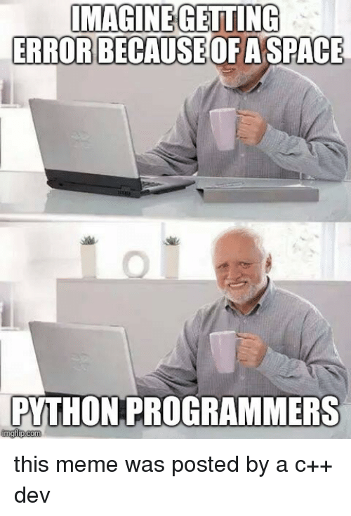 Meme, Space, and Python: ERRORBECAUSE  OFA SPACE  PYTHON PROGRAMMERS  imgfip.com this meme was posted by a c++ dev