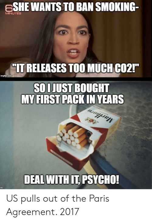 "deal with it: ESHE WANTS TO BAN SMOKING-  MINUTES  IT RELEASES TOOMUCH CO2""  imgt p.com  SOLJUST BOUGHT  MY FIRST PACKIN YEARS  DEAL WITH IT PSYCHO! US pulls out of the Paris Agreement. 2017"