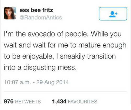 wait for me: ess bee fritz  @RandomAntics  I'm the avocado of people. While you  wait and wait for me to mature enough  to be enjoyable, I sneakily transition  into a disgusting mess.  10:07 a.m. 29 Aug 2014  976 RETWEETS  1,434 FAVOURITES