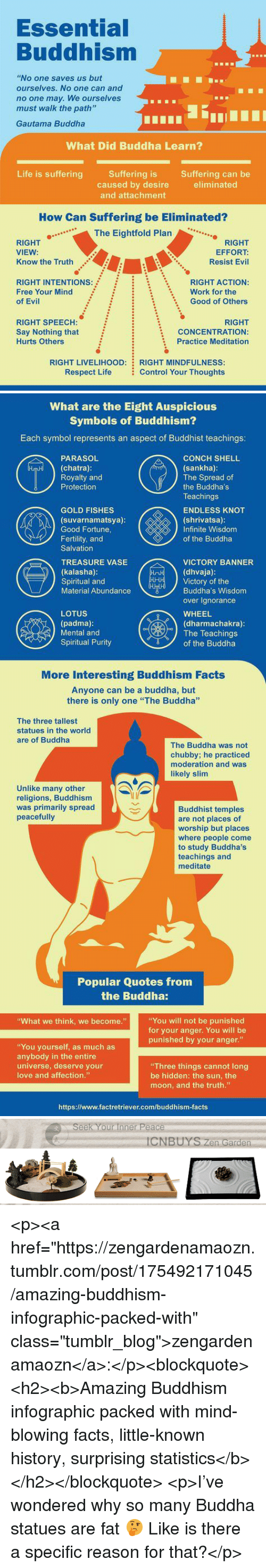 """Facts, Life, and Love: Essential  Buddhism  """"No one saves us but  ourselves. No one can and  no one may. We ourselves  must walk the path'""""  Gautama Buddha  What Did Buddha Learn?  Life is sufferingSuffering is  Suffering can be  eliminated  caused by desire  and attachment  How Can Suffering be Eliminated?  ..The Eightfold Plan  RIGHT  VIEW:  Know the Truth  RIGHT  EFFORT:  Resist Evil  RIGHT INTENTIONs:  Free Your Mind  of Evil  RIGHT ACTION:  Good of Others  Work for the  :  :  \  RIGHT SPEECH:  Say Nothing that  Hurts Others  RIGHT  CONCENTRATION:  Practice Meditation  RIGHT LIVELIHOOD:  Respect Life  RIGHT MINDFULNESS  Control Your Thoughts   What are the Eight Auspicious  Symbols of Buddhism?  Each symbol represents an aspect of Buddhist teachings:  CONCH SHELL  (sankha)  The Spread of  the Buddha's  Teachings  ENDLESS KNOT  (shrivatsa):  Infinite Wisdom  of the Buddha  PARASOL  (chatra):  Royalty and  Protection  GOLD FISHES  (suvarnamatsya)  Good Fortune,  Fertility, and  Salvation  TREASURE VASE  (kalasha)  Spiritual and  Material Abundance  VICTORY BANNER  (dhvaja)  Victory of the  Buddha's Wisdom  over Ignorance  WHEEL  (dharmachakra):  LOTUS  (padma)  Mental and  Spiritual Purity  The Teachings  dr〒ソof the Buddha  More Interesting Buddhism Facts  Anyone can be a buddha, but  there is only one """"The Buddha""""  The three tallest  statues in the world  are of Buddha  The Buddha was not  chubby; he practiced  moderation and was  likely slim  Unlike many other  religions, Buddhism  was primarily spread  peacefully  Buddhist temples  are not places of  worship but places  where people come  to study Buddha's  teachings and  meditate  Popular Quotes from  the Buddha:  You will not be punished  for your anger. You will be  punished by your anger.""""  What we think, we become.""""  """"You yourself, as much as  anybody in the entire  universe, deserve your  love and affection.""""  Three things cannot long  be hidden: the sun, the  moon, and the truth.""""  https://www.factretrie"""